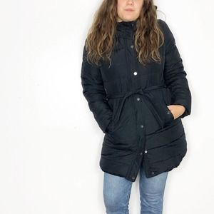ABERCROMBIE | Black Ribbed Down Puffer Coat Parka